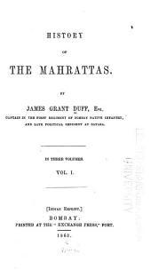 A History of the Mahrattas: Volume 1