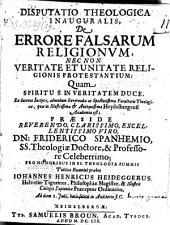 Disp. ... de errore falsarum religionum