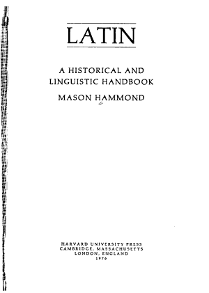 Latin  a Historical and Linguistic Handbook PDF