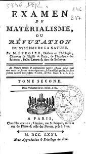 Examen du matérialisme ou Réfutation du systéme de la nature