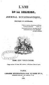 L'Ami de la religion: Volume121