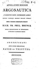 Apollonii Rhodii Argonautica e scriptis octo veteribus libris quorum plerique nondum collati fuerant