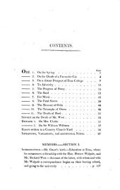 The Works of Thomas Gray: Containing His Poems, and Correspondence with Several Eminent Literary Characters : to which are Added, Memoirs of His Life and Writings, Volume 1