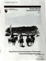 Final Environmental Impact Statement General Management Plan  Fort Davis  National Historic Site  Texas PDF
