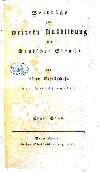 Beitr  ge zur weitern ausbildung der deutschen sprache PDF