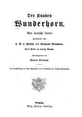 Des knaben Wunderhorn: Alte deutsche Lieder