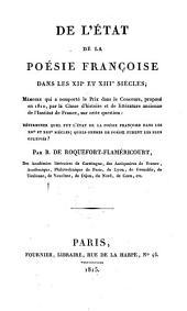 De l'état de la poésie françoise dans les XIIe et XIIIe siècles