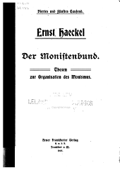 Der Monistenbund: Thesen zur Organisation des Monismus