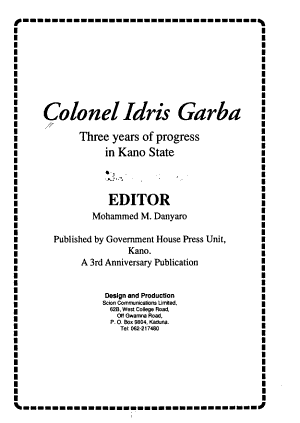 Colonel Idris Garba  Three years of progress in Kano State PDF