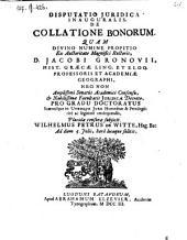 Disputatio ... de collatione bonorum