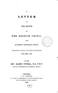 A letter to the editor of The British critic  occasioned by an article in the no  for April 1834 Book