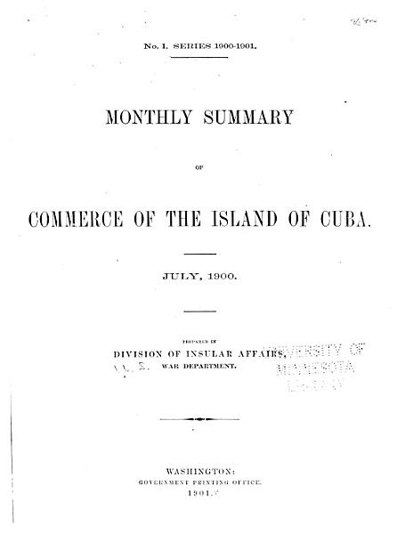Monthly Summary of Commerce of the Island of Cuba