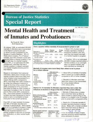 Mental Health and Treatment of Inmates and Probationers