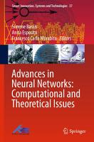 Advances in Neural Networks  Computational and Theoretical Issues PDF