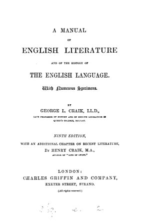 A Manual of English Literature and of the History of the English Language