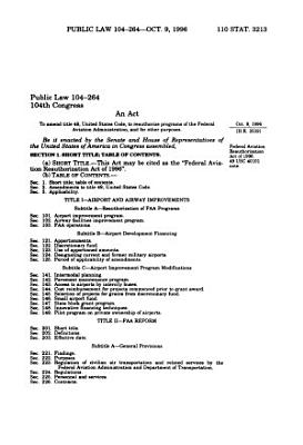 An Act to Amend Title 49  United States Code  to Reauthorize Programs of the Federal Aviation Administration  and for Other Purposes PDF