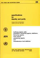 Specifications for Identity and Purity of Buffering Agents  Salts  Emulsifiers  Thickening Agents  Stabilizers  Flavouring Agents  Food Colours  Sweetening Agents  and Miscellaneous Food Additives PDF