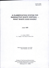 A Classification System for Radioactive Waste Disposal