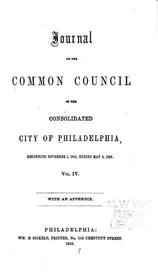 Journal of the Common Council  of the City of Philadelphia  for     PDF