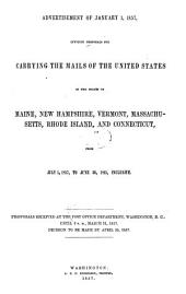 Proposals for Carrying the Mail in Maine, New Hampshire, Vermont, Massachusetts, Rhode Island, and Connecticut from July 1, 1857, to June 30, 1861 ...