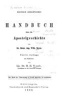Kritisch exegetisches Handbuch   ber die Apostelgeschichte PDF