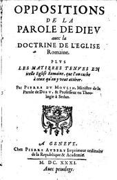 Oppositions de la parole de Dieu avec la doctrine de l'église romaine