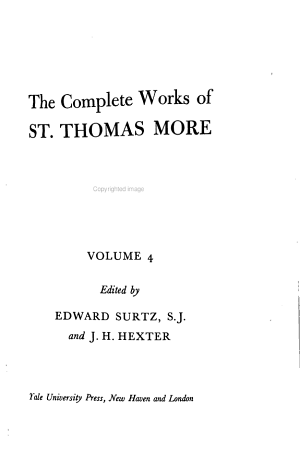 The Complete Works of St. Thomas More: Utopia