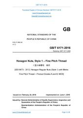 GB/T 6171-2016: Translated English of Chinese Standard. (GBT 6171-2016, GB/T6171-2016, GBT6171-2016): Hexagon Nuts, Style 1 - Fine Pitch Thread