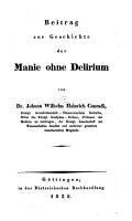 Beitrag zur Geschichte der Manie ohne Delirium PDF