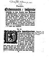 Paarden. Ordonnantie, volgende dewelke in [...] Holland en Westvriesland [...] geinnet sal werden den generaalen impost op de paarden. Ingaande den eersten ianuary 1750