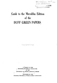 Guide to the Microfilm Edition of the Duff Green Papers