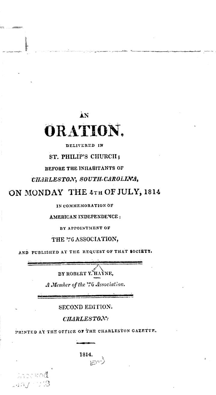 An Oration, Delivered in St. Philip's Church
