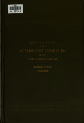 Report of the Corporation Commission for the Biennial Period, ...: Volume 20