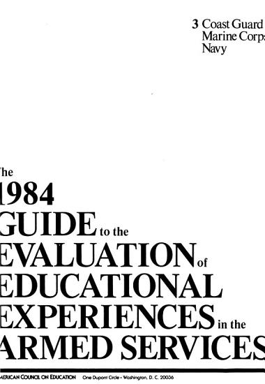 The 1984 Guide to the Evaluation of Educational Experiences in the Armed Services PDF