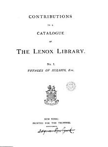 Contributions to a catalogue of the Lenox library PDF
