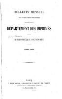 Bulletin mensuel des publications   trang  res re  ues par le D  partement des Imprim  s de la Biblioth  que Nationale PDF