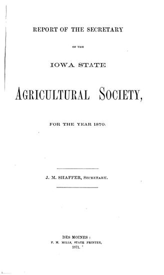 Annual Report of the Iowa State Agricultural Society PDF