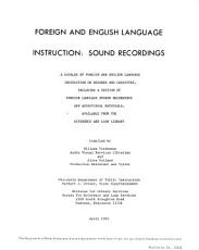 Foreign and English Language Instruction  Sound Recordings PDF