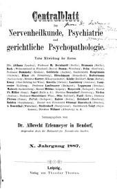 Zentralblatt für Nervenheilkunde und Psychiatrie: Band 10
