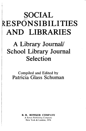 Social Responsibilities and Libraries PDF