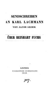 Senschreiben an Karl Lachmann ... über Reinhart Fuchs