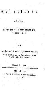 Kanzelrede in den letzten Abendstunden des Jahres 1815