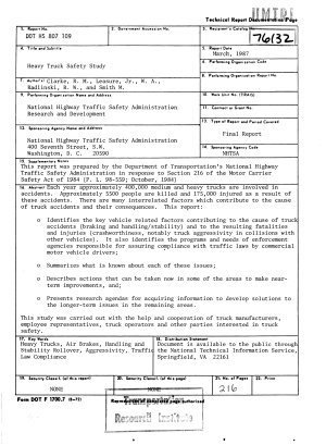 Heavy Truck Safety Study  Prepared in Response to Section 216 of the Motor Carrier Safety Act of 1984  Final Report PDF