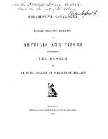 Descriptive Catalogue of the Fossil Organic Remains of Reptilia and Pisces Contained in the Museum of the Royal College of Surgeons of England PDF