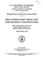 Field Inspectors' Check List for Building Construction