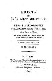 Précis des événemens militaires, ou essais historiques sur les campagnes de 1799 à 1814: Campagne de 1799 ; T. 2. 2