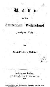 Rede an den deutschen Wehrstand jetziger Zeit: In Versen