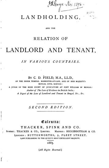 Landholding  and the Relation of Landlord and Tenant PDF