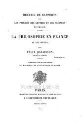La philosophie en France au XIXe siècle