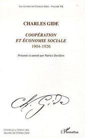 Coopération et économie sociale: 1904-1926 -, Volume7